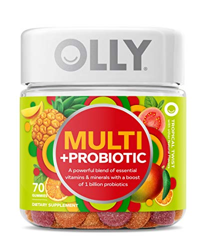 OLLY Multi + Probiotic Adult Multivitamin Gummy, 35 Day Supply (70 Gummies), Tropical Twist, 1 Billion CFUs, Digestive and Immune Support Chewable Supplement