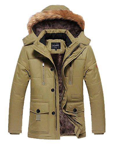 HENGJIA Men's Winter Warm Fleece Lined Coats with Detachable Hooded Windbreaker Jacket Khaki US XX-Large(Asian 5XL)