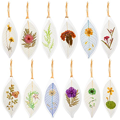 12 Pack Leaf Shaped Dried Flowers Bookmark- Transparent Leaf Vein Pressed Floral Reading Page Markers in 12 Styles Novelty Stationery Book Stopper with Raffia Tassel for Readers Teachers Students Gift