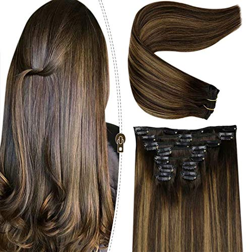 LaaVoo 45cm Clip in Hair Naturali Lisci Extension Clip Capelli Veri Marrone Più Scuro Balayage Marrone Chiaro Great Lengths 100Gr/9Pcs