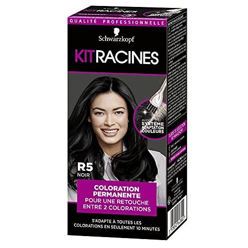 Schwarzkopf - Kit Racines - Coloration Racines Cheveux Permanente - Enrichie d'une huile nourrissante - Couverture Cheveux Blancs - Retouche entre 2 Colorations - Noir R5