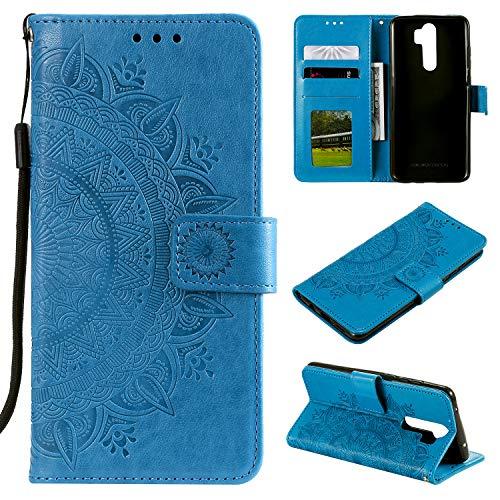 HTDELEC Xiaomi Redmi Note 8 Pro Hülle,Ultra Slim Flip Hülle Blau Etui mit Kartensteckplatz & Magnetverschluss Leder Wallet Klapphülle Book Hülle Bumper Tasche für Xiaomi Redmi Note 8 Pro(T-Blau)