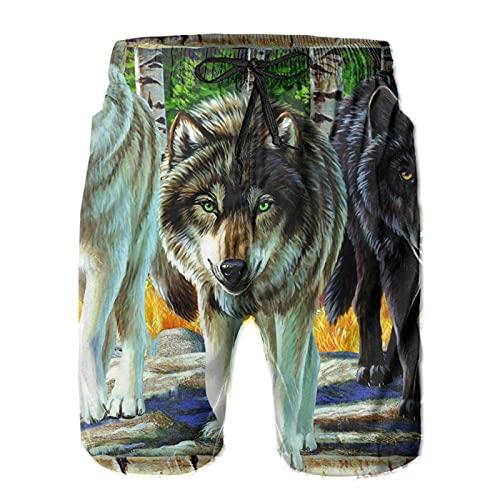 ZORIN Costume da bagno da uomo Wolf Bianco Nero Wilderness Pantaloncini da bagno Quick Dry Athletic con fodera in rete e tasche, bianco, M