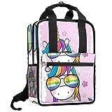 TIZORAX - Mochila para mujer, diseño de unicornio en arcoíris con gafas de sol para...