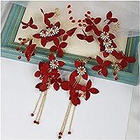 ヘアアクセサリーブライダルヘッドドレス赤ヘッドバンド結婚式スリーピースヘアアクセサリー中国アンティークアセンブリ装飾プレートヘアジュエリー-番号15ヘッドドレス、イヤリングクリップ