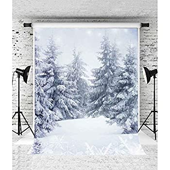 Winter Wonderland White Backdrop Snowy Forest Background 5x7ft Photo Booth Studio Props LSVV1091
