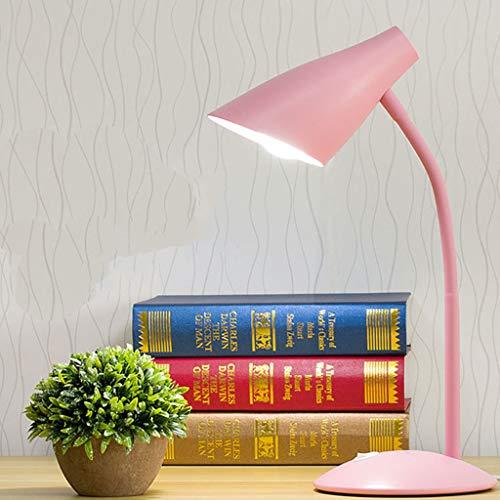 YS & VV LED bureaulamp, roze, eenvoudig, tafellamp, verstelbaar, ABS, 5000 K, voor professioneel kantoor (E27) met schakelaar