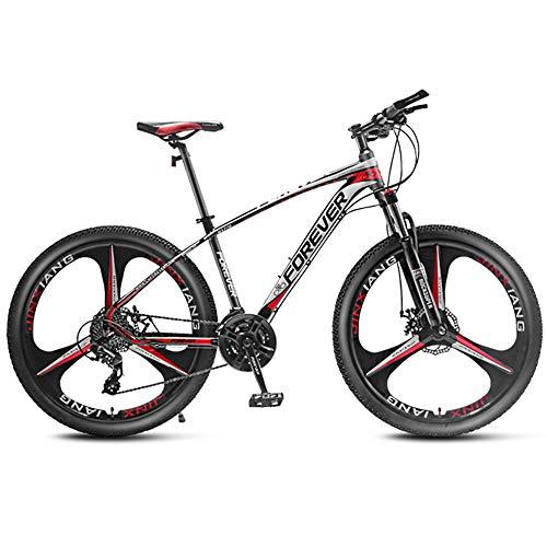 Mountain Bike Uomo, 27.5 Pollici Mountain Bike Bicicletta con Sospensione A Forcella Variabile velocità Sistema di Freno A Disco Telaio in Alluminio, 33 Speed,Rosso,B