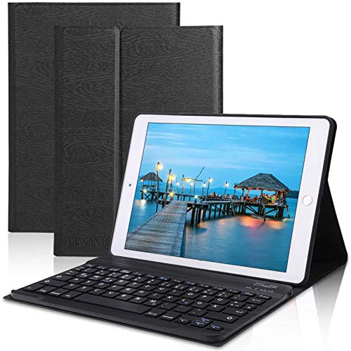 DINGRICH Teclado para iPad 10.2 / iPad 8 Generacion, Funda con Teclado Español Ñ para iPad 10.2 2019 2020 8/7 Generación/iPad Pro 10.5 2017/Air 3 Teclado Bluetooth Desmontable Magnétic Negro