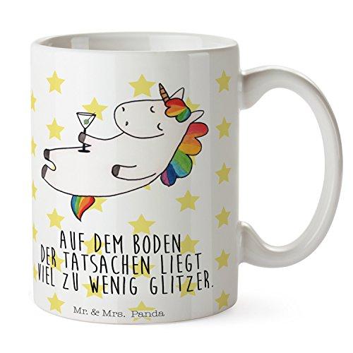 Mr. & Mrs. Panda Teetasse, Kaffeebecher, Tasse Einhorn Cocktail mit Spruch - Farbe Weiß