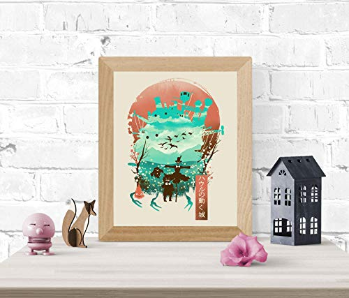 Howl's Moving Castle Art Print - Studio Ghibli Wall Art 8 x 10 Unframed Japanese Anime Artwork Haku Dragon Print Hayao Miyazaki Wall Hanging Cool Movie Home Decor, Calcifer Turnip Head Artwork