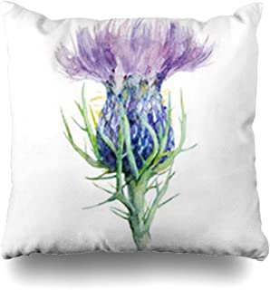 NOWCustom Throw Pillow Cover Painting Milk Thistle Flower Watercolor Blossom Nature Scottish Purple Celtic Hand Zippered Pillowcase Square Size 16 x 16 Inches Home Decor Cushion Case