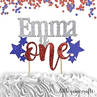 1 pc custom personalise ANY name is one stars patriotic 4th of july cake topper red blue silver glitter cake topper party theme first birthday cake smash blue