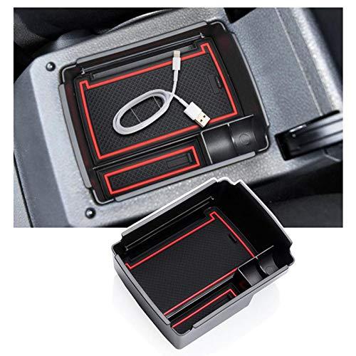 RUIYA Para V W Golf 7 MK7 2013 – 2018 año de fabricación 2018 – Caja de almacenamiento con reposabrazos, bandeja organizadora, reposabrazos central para coche, accesorios (rojo)