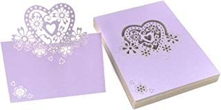 Kslong 50Pcs Place Cards for Wedding Party Banquets Foldover Romantic Heart-Shaped Hollow Out Seat Card Small Tent Cards Placecards (Purple)