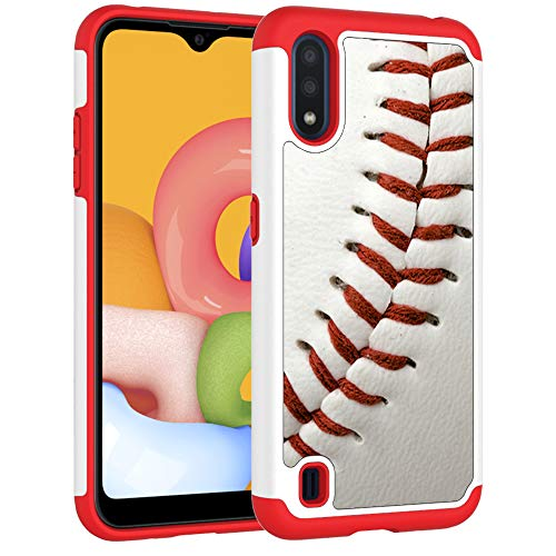 Sunshine - Tech Samsung A01 Case, Galaxy A01 Phone Cover - Baseball Sports Pattern Shock-Absorption Hard PC and Inner Silicone Hybrid Dual Layer Armor Defender Protective Case for Samsung Galaxy A01