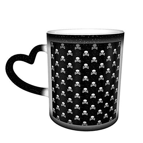 Skull Crossbones Taza cambiante negra Taza de café con diseño de cerámica Taza sensible al calor Taza que cambia de color en el cielo, 11 oz