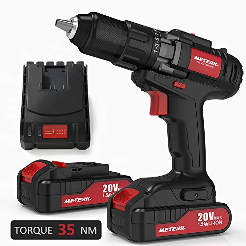 Drill Driver, Meterk 20V Cordless Electric Drill Driver with 2Pcs Li-Ion Batteries, 2 Speed Drill Driver with 21+1 Position Clutch, 1/2' Max Chuck with Torque 35N.m,1H Fast Charger