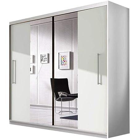 E-MEUBLES Armoire de Chambre avec 2 Portes coulissantes | Penderie (Tringle) avec étagères (LxHxP): 204x218x58 Nico avec Miroir (Blanc+ Blanc+ Miroir)