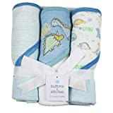 Buttons and Stitches Baby Boys 3 Pack Infant Hooded Towels, Print, Dino Stripes (GS71413)