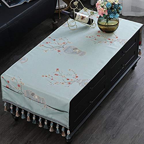Nappe Table Adorabtable Toile Cirée Nappe De Table Basse Tissu Rectangulaire Style Rétro Tv Comptoir Tissu Coiffeuse Bleue-Nappe À Café_70 * 200 Cm (La Taille Comprend Les Oreilles Suspendues)