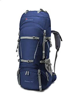Outdoor Mountaineering Bag Shoulders Men and Women 60L70L Camping Hiking Backpack Ultra Light Large Capacity JKMQA (Color : Blue, Size : 75cm×29cm×28cm)