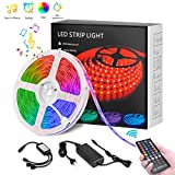 LED Strip, LED Streifen 5M RGB Sync mit Musik, Timerfunktion, Dimmbar lichterkette 150 leds SMD5050 IP65 Wasserdicht mit 40 Tasten Fernbedienung, Deko für Küche, Terrasse, Party, Bars, Sofa