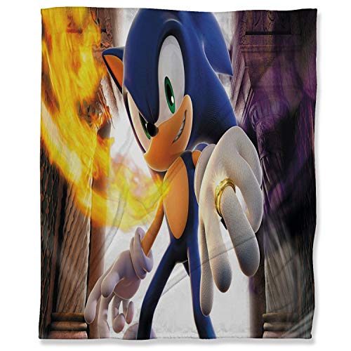 ARYAGO Lightweight Thermal Fleece Blankets 100 x 130 cm, Sonic The Hedgehog Fluffy Cozy Blanket for Bed Sofa Travel Couch, Sonic Force