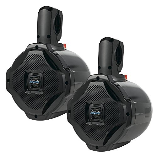 Bluetooth Marine Wakeboard Tower Speakers - 6.5 Inch 1000 Watt Pair of Two Way Audio Water Resistant Boat Sound System - in a Heavy Duty ABS Enclosure - Lanzar AQAWBPR65BK (Black)