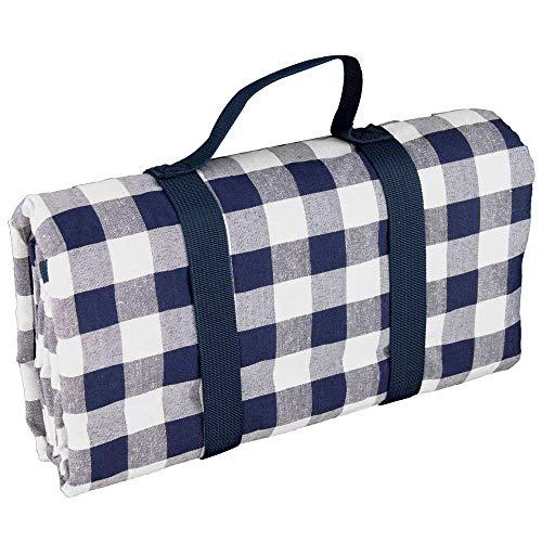 Les Jardins de la Comtesse picknickdeken rechthoekig XL geruit blauw – katoen/achterkant waterdicht polyester – 280 x 140 cm – voor vochtige ondergrond– ook voor tuintafel – 8 personen