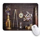 ZOMOY マウスパッド 個性的 おしゃれ 柔軟 かわいい ゴム製裏面 ゲーミングマウスパッド PC ノートパソコン オフィス用 デスクマット 滑り止め 耐久性が良い おもしろいパターン (コンパス航海六分儀望遠鏡は船長の家の日時計を古銭)