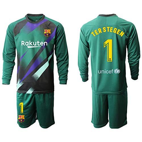 AELN Fußballtrikot-Set für Kinder-1# TER Stegen Athlete's Jersey Teenager Sportswear Mesh Schnelltrocknendes Kurzarm-Fans-Sweatshirt-E-L