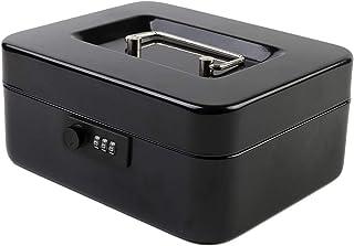 "KYODOLED Medium Cash Box with Combination Lock Safe Metal Money Box with Money Tray for Security Lock Box 7.87""x 6.30""x 3.54"" Black Medium"