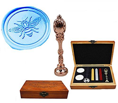 MNYR Luxe Bee Sealing Wax Seal Stamp Vintage Aangepaste Foto Logo Monogram Bruiloft Uitnodigingen Wax Seal Stamp Metalen Pauw Handvat Sticks Lepel Hout Gift Box Set Rosegoud