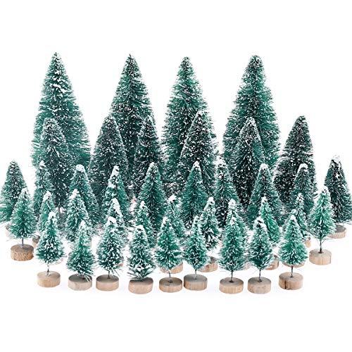 MELLIEX 40 pcs Árbol de Navidad en Miniatura Pequeño árbol de Navidad Artificial Mesa de Nieve Árboles Esmerilados para la Decoración del Hogar, Bricolaje