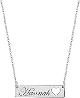 FUJIN Personalized 925 Sterling Silver Bar Pendant Necklace with Heart Custom Made with Any Name
