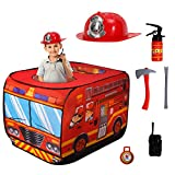 Mitcien Fire Truck Pop Up Play Tent with Helmet,Fire Extinguisher,Axe,Crow bar Toys,Foldable Playhouse for Kids,Toddlers,Boys and Girls