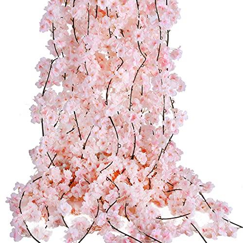PARTY JOY Artificial Cherry Blossom Garland Hanging Vine Silk Garland Wedding Party Decor,(2, Pink)