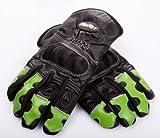 WinNet guanti da moto in pelle e cordura con protezioni sulle nocche e dita verde Kawasaki