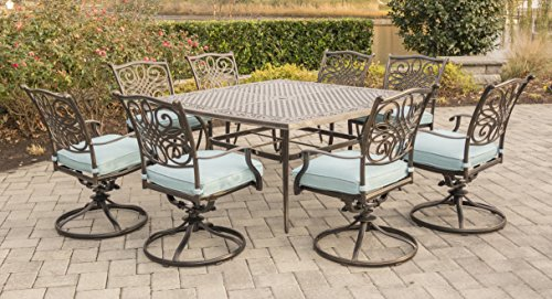 Hanover TRAD9PCSWSQ8-BLU 9 Piece Traditions Square Dining Set with 8 Swivel Chairs and Large 60' x...
