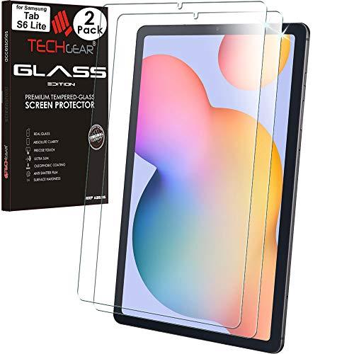 TECHGEAR [2 Piezas] Vidrio Compatible con Samsung Galaxy Tab S6 Lite 10.4 (SM-P610/SM-P615) Auténtica Protector de Pantalla Vidro Templado [Dureza 9H] [Resistente a los arañazos] [Sin Burbuja]