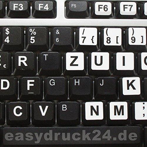easydruck24de Beschriftung für Deutsche Tastatur, Großbuchstaben, Schwarze Tastaturaufkleber mit weißen Buchstaben, sehbehindert, schwach sehen - perfekt für jedes Keyboard, hin_184