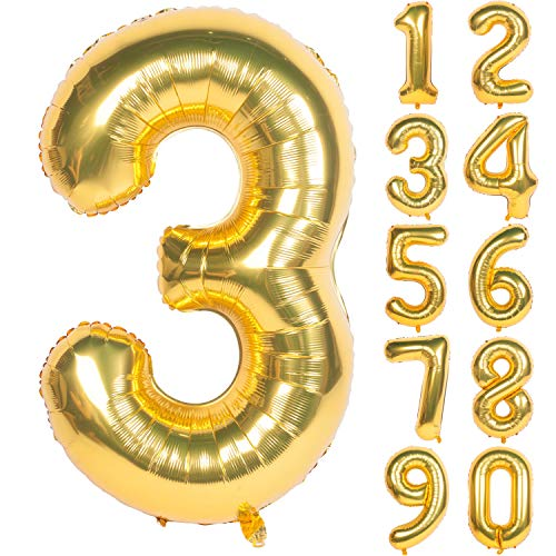 40 Inch Gold Digit Helium Foil Birthday Party Balloons (Gold, Number 3)