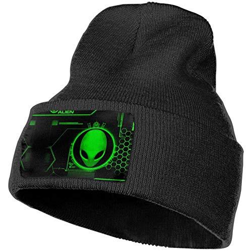 Gorro de Punto Unisex de Inteligencia alienígena Verde Gorro de Calavera Liso con puños Gorro cálido
