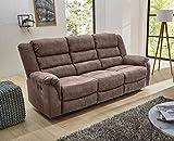 lifestyle4living 3 Sitzer Sofa in grau-braun mit praktischer Relaxfunktion, verstellbares Funktionssofa zum relaxen und genießen