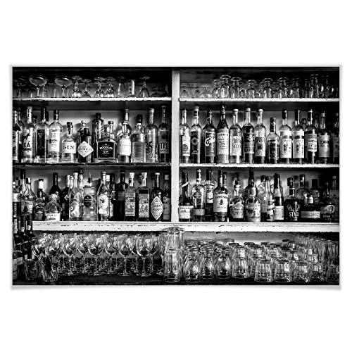 Poster Klein - The Classic Bar zwart-wit alcohol zeer hoog percentage Toke Wall-Art 40x30 cm zwart