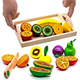 yoptote Frutas y Verduras Juguete para Cortar Comida Madera Montessori Alimentos Pequeño Chef Juguete de Cocina Bebes Regalos Niño Niña 3 4 5 Años (21 Piezas)