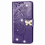 Blllue Wallet Coque Compatible with Huawei P20 Pro, Bling Glitter Diamond Butterfly PU Leather Phone...