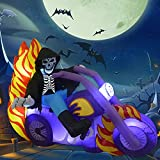 GOOSH 6 FT Halloween Inflatables Outdoor Grim Reaper on The Motorcycle, Blow Up Yard Decoration Clearance with LED Lights Built-in for Holiday/Party/Yard/Garden