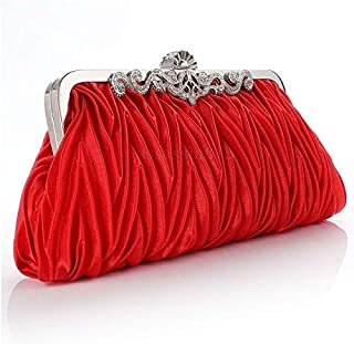 iBag's Women Lady Satin Crystal Bridal Handbag Clutch Party Wedding Purse Evening Bag Pleated Day Clutches Solid Ladies Handbags